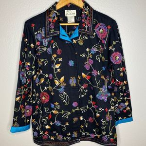 Quacker Factory Jacket w Embroidery and Be…